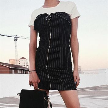 2017 new knit skirts, autumn and winter zipper striped chest strap sexy shoulder bag hip dress 171117