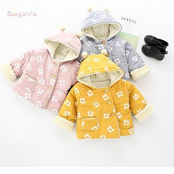 Warm Winter Baby Infants Girls Kids Flower Printed Hooded Thicken Velvet Jacket Cardigan Outwear Parkas Coat Casaco S6056