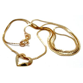 !4K Yellow Gold Floating Heart Necklace Silmar