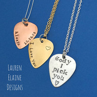 Custom Hand Stamped Guitar Pick Necklace- Choose Your Phrase, Charm Metal and Chain- Aluminum, Brass, or Copper