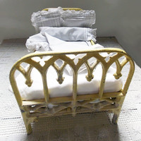 Antique Iron Doll Bed with Original Mattress, Pillows and Linen