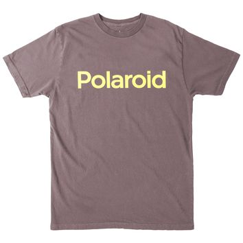 Polaroid Logo, Yellow text graphic tee by Altru Apparel