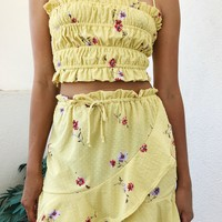 SAMIA SKIRT- YELLOW FLORAL