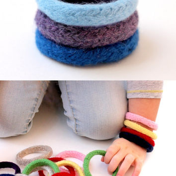 1 Preschool Toy Bracelet / Knitted Wool Toy / Felted Soft Bracelet / Non Candy Easter Gift / Kids Safe Bracelet