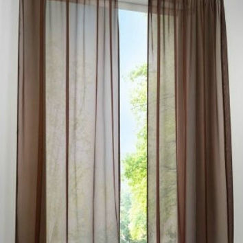 2PCS Concise German High Density Terylene Yarn Window Curtain  Good Quality Sheer Panels