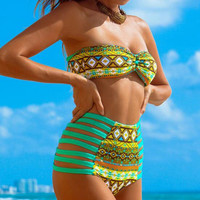 FASHION PRINTED HIGH WAIST SWIMSUIT