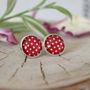 Red And White Polka Dot Stud Earrings, Silver Plated, Glass Cabochon