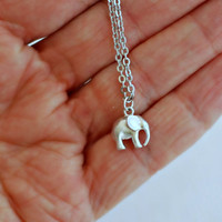 Silver Elephant charm necklace, tiny small animal lucky matte pendant simple everyday jewelry minimal graduation gift