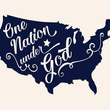 One Nation Under God USA Patriotic Military Vinyl Wall Decal