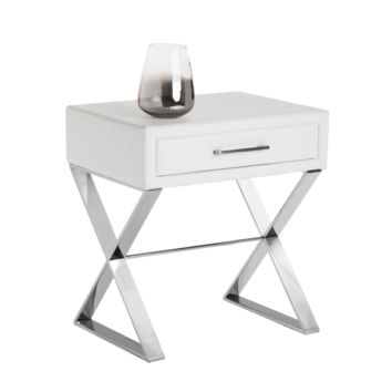 CAST NOBILITY WHITE LEATHER END TABLE