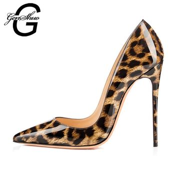 GENSHUO 2017 Sexy Wild Leopard PU Stiletto High Heels Pumps Pointed Toe Woman Shoes Customize heel 8cm 10 cm 12cm