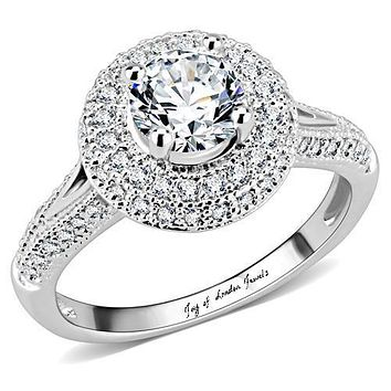 1CT Round Cut Double Halo Russian Lab Diamond Engagement Ring