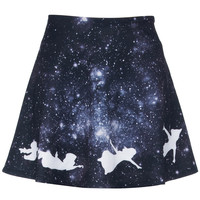 ROMWE | White Peter Pan in Galaxy Print Skirt, The Latest Street Fashion
