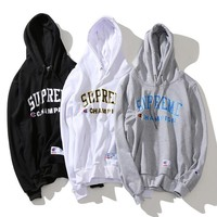 Champion& Supreme Print hooded Autumn new style fleece Hoodies Sweater