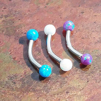 Stainless steel opal Daith, Rook, Eyebrow ring