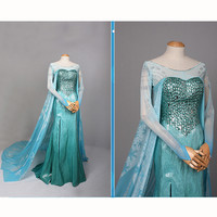 High Quality adult Elsa Snow Queen Princess Elsa Cosplay costume elsa blue dresses Halloween costumes for women party Dresses