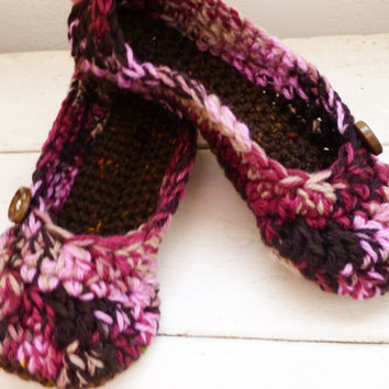Crochet slippers, house slippers, women's slippers, ballet slippers, crochet slippers pink, women's accessories, ready to ship, handmade