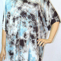 Day in Paradise-Vocal-Plus Size-Tunic Top-Multi Sky Blue Brown