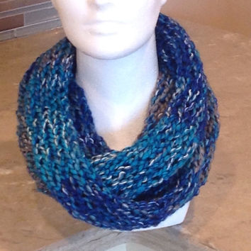 Blue and Gray Infinity Eternity Circle Knitted Scarf