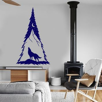 Vinyl Wall Decal Spruce Tree Forest Moon Howling Wolf Predator Animal Stickers (2545ig)