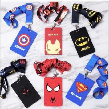Batman Dark Knight gift Christmas Retail 1 pcs avengers batman Named Card Holder Identity Badge with Lanyard Neck Strap Card Bus ID Holders With Key Chain AT_71_6