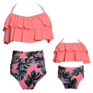 2018 Autumn New Arrival Family Matching Outfits Mother & Daugther Bikini Swimwear Print Dot Lotus Leaf Swimsuit Beach Wear