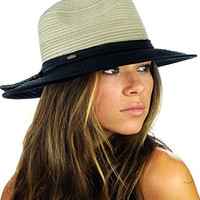 NYFASHION101 Multicolor Weaved Band Matching Brim Panama Fedora Sun Hat - Black