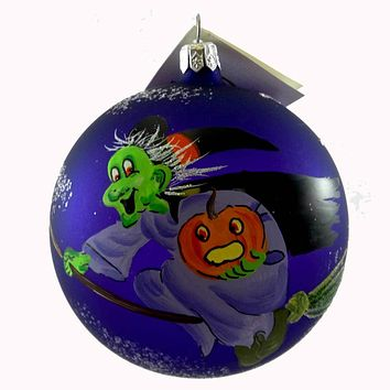 Laved Italian Ornaments Flying Green Witch Ball Halloween Glass Ornament