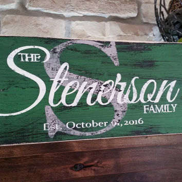 Rustic Personalized Wood Monogram Sign-Family Stenerson Style