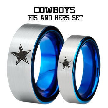 Dallas Cowboys His and Hers Blue Tungsten Flat Cut Ring