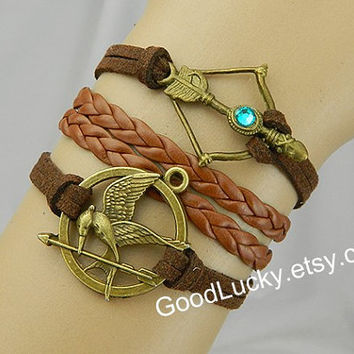 Mockingjay pin bracelet,catching fire,leather bracelet,bow and arrow bracelet,hipster jewelry,Hunger bird,Braided Bracelet,Games bracelet