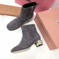 Prada Miu Miu Velvet Ankle Boots With Pearls Gray