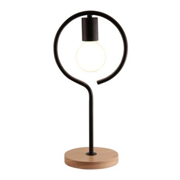 Light Accents Table Lamp Natural Wooden Base with Metal