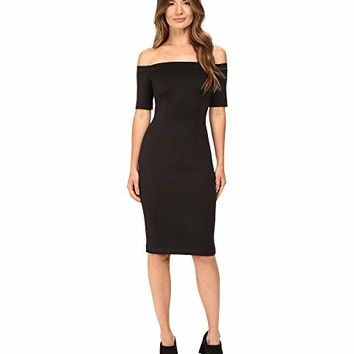 YIGAL AZROUËL Black Scuba Off the Shoulder Dress