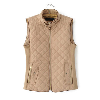 Women Winter Vest Cotton Padded Tops 2015 Autumn New Fashion Navy Khaki Colors Ladies Casual Style H555