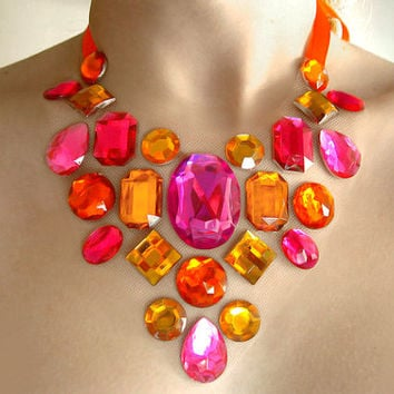 Bright Orange and Pink Floating Rhinestone Necklace, Colorful Rhinestone Illusion Necklace, Floating Statement Necklace