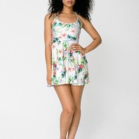 Flamingo Print Nylon Tricot Figure Skater Dress | Mini | Women's Dresses | American Apparel
