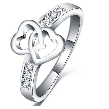 Silver Color Double Heart Love Promise Rings For Women