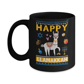 Happy Llama Llamakkah Hanukkah Ugly Sweater Mug