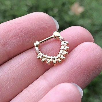 Gold Triangle Daith Rook Clicker Hoop Septum Clicker
