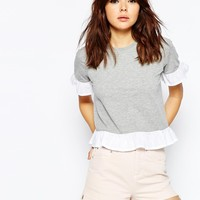 ASOS T-Shirt With Woven Ruffle at asos.com
