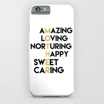 DEAR MOTHER Mothers Day quote iPhone & iPod Case by deificus Art