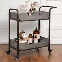 Pre-Order Two Tier Galvanized Rolling Serving Cart