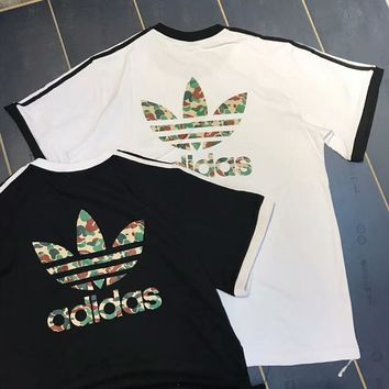 ADIDAS Clover 2018 summer new camouflage big logo sports short sleeve t-shirt F-AA-XDD