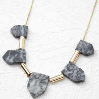 Pentagonal Faux Stone Necklace