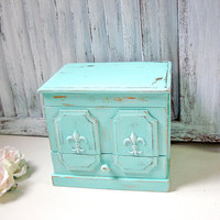 Aqua Vintage Jewelry Box, Small Jewelry Holder, Shabby Chic Fleur de Lis Jewelry Chest, Boho Jewelry Storage Box, Beach Cottage, Gift Ideas