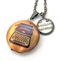 Typewriter Painted Locket Authors Love Writing Word Mini Pendant Brass Setting Library Card Necklace One of a Kind