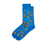 River Island MensBlue pizza print socks