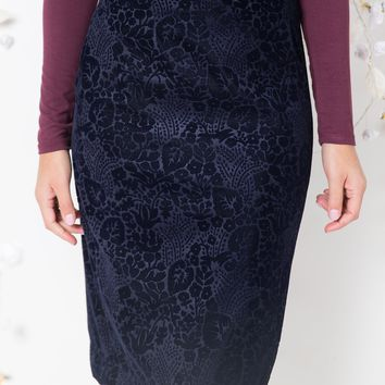 Burnout Floral Velvet Skirt