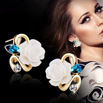 5 colors optional fashion crystal flower earring Exquisite quality classic gold-color rose earrings